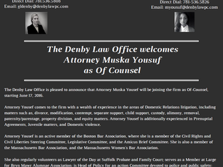 The Denby Law Office Welcomes Attorney Muska Yousuf as Of Counsel
