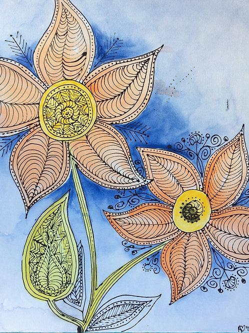 Retro Flowers Canvas To Go Kit