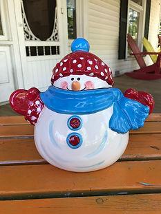 Snowman Cookie Jar Painted.JPG