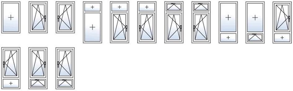 Типы Открывания Окон с Одной створкой