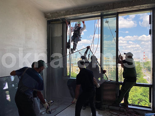 Дом на Мосфильмовской Установка стеклопакетов