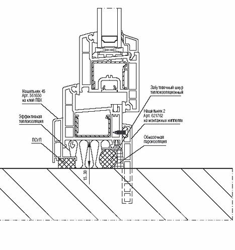 Схема узла примыкания при установке окон ПВХ