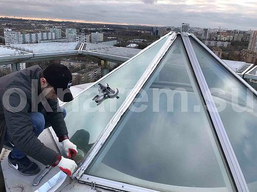 Замена треугольного стеклопакета в зенитном фонаре
