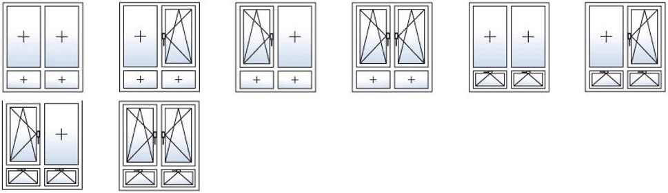 Типы Открывания Окон с Двумя створками