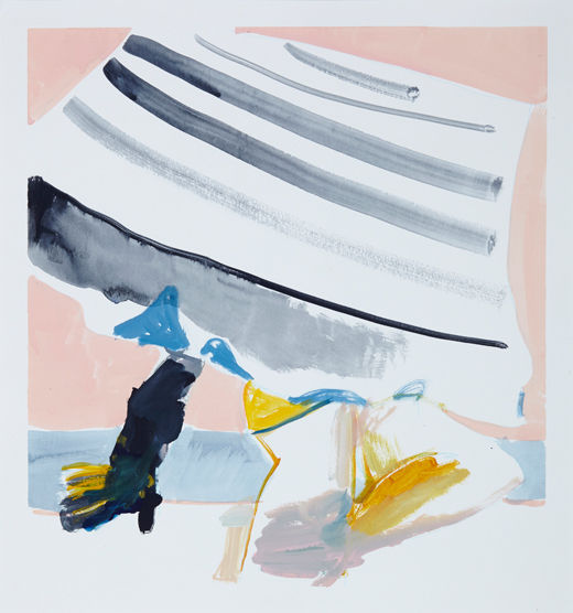 A rake'Beach bats #6, Michael Taylor 2014, Acrylic and pencil on paper, 40 x 37.5 cm - New best friend, Michael Taylor 2015, Acrylic, gouache and pencil on screen print, 70 x 50 cm