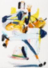 A rake's progress - Greetings, Michael Taylor 2015, Acrylic, gouache and pencil on screen print, 70 x 50 cm