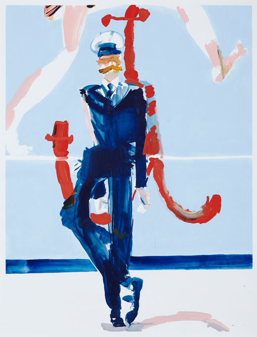 Head over heels, Michael Taylor 2014, Acrylic, gouache and pencil on paper, 98 x 75 cm
