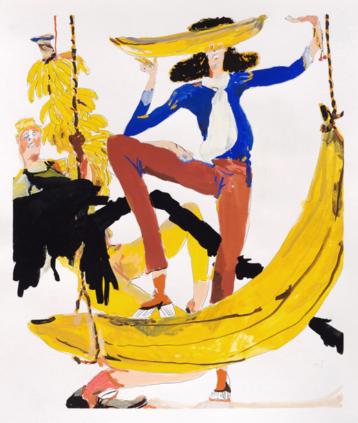 Brother Sister Banana, Michael Taylor 2017, Gouache and pencil on paper, 45 x 38 cm