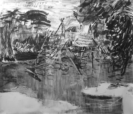 But green on topEasy peasy paradise, Michael Taylor 2012, Charcoal on paper, 150 x 175 cm Taylor 2016, Gouache on paper, 150 x 125 cm