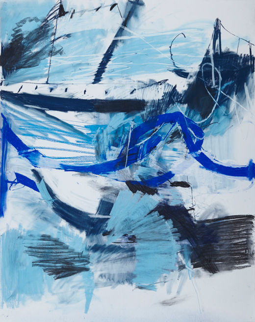 A rake's Good blues #2, Michael Taylor 2014, Charcoal and pastel on paper, 150 x 120 cm - New best friend, Michael Taylor 2015, Acrylic, gouache and pencil on screen print, 70 x 50 cm
