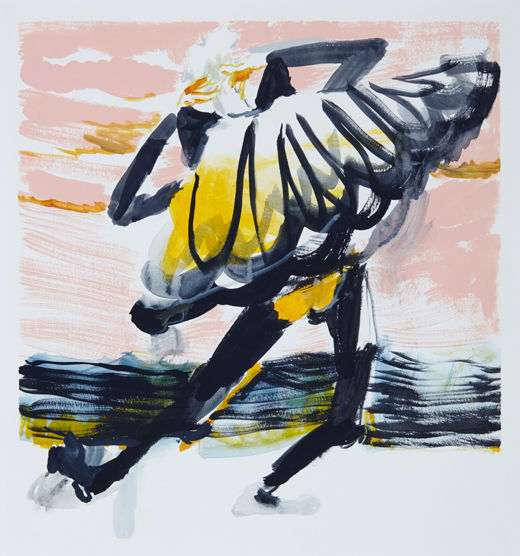 A rake's Beach bats #3, Michael Taylor 2014, Acrylic and pencil on paper, 40 x 37.5 cm - New best friend, Michael Taylor 2015, Acrylic, gouache and pencil on screen print, 70 x 50 cm
