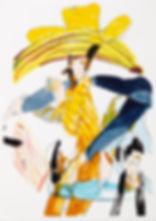 A rake's progress - The cowboy, Michael Taylor 2015, Acrylic, gouache and pencil on screen print, 70 x 50 cm