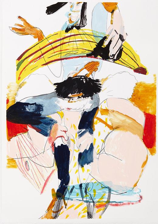 A rake's progress - Big friendly, Michael Taylor 2015, Acrylic, gouache and pencil on screen print, 70 x 50 cm