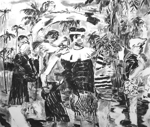 Dearest Stick to what you know, Michael Taylor 2012, Charcoal on paper, 150 x 175 cm, I often think of you, Michael Taylor 2016, Gouache on paper, 150 x 125 cm
