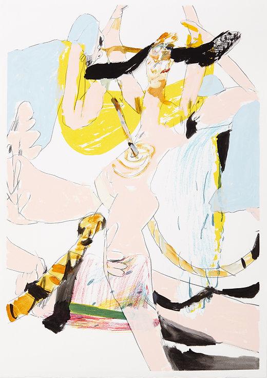 A rake's progress - Probe, Michael Taylor 2015, Acrylic, gouache and pencil on screen print, 70 x 50 cm