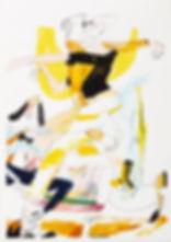 A rake's progress - Nightfall, Michael Taylor 2015, Acrylic, gouache and pencil on screen print, 70 x 50 cm