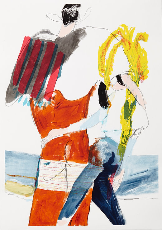 A rake's progress - Crushing, Michael Taylor 2015, Acrylic, gouache and pencil on screen print, 70 x 50 cm