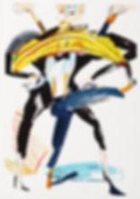 A rake's progress - Opening act, Michael Taylor 2015, Acrylic, gouache and pencil on screen print, 70 x 50 cm