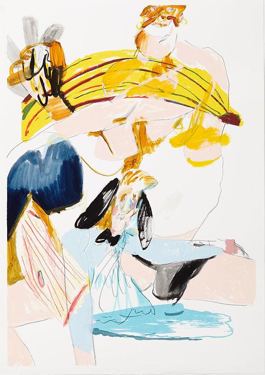 A rake's progress - The caveman, Michael Taylor 2015, Acrylic, gouache and pencil on screen print, 70 x 50 cm