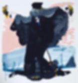 A rake'Beach bats #2, Michael Taylor 2014, Acrylic and pencil on paper, 40 x 37.5 cm progress - New best friend, Michael Taylor 2015, Acrylic, gouache and pencil on screen print, 70 x 50 cm