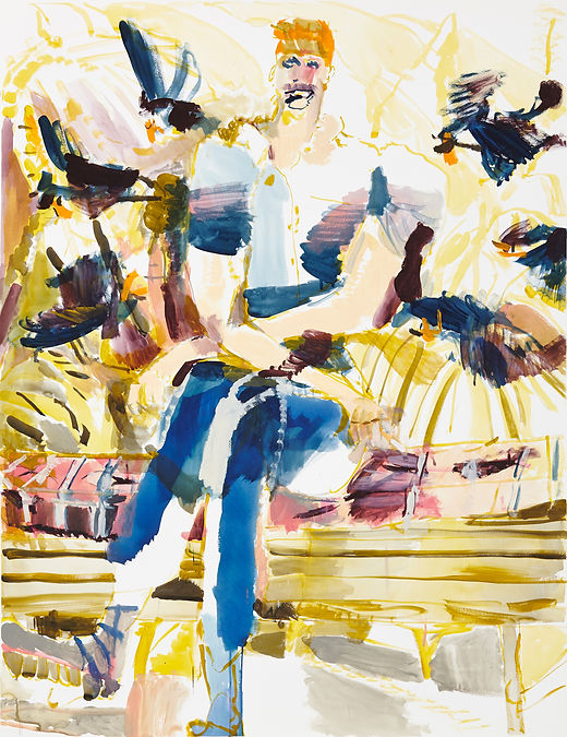 Afternoon break, Michael Taylor 2015, Acrylic and flashe on paper, 140 x 110 cm