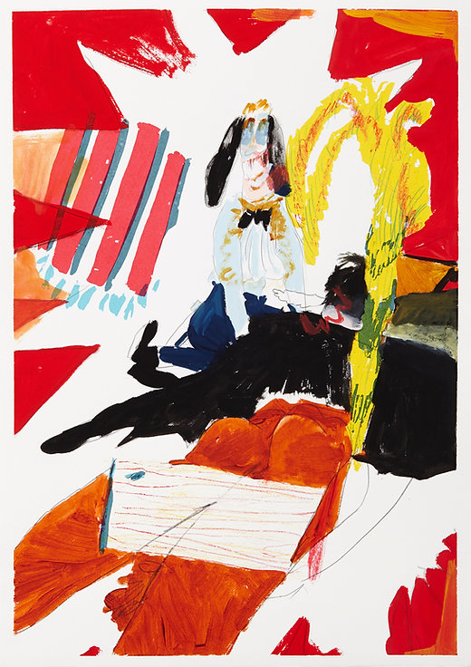 A rake's progress - Caught in the act, Michael Taylor 2015, Acrylic, gouache and pencil on screen print, 70 x 50 cm