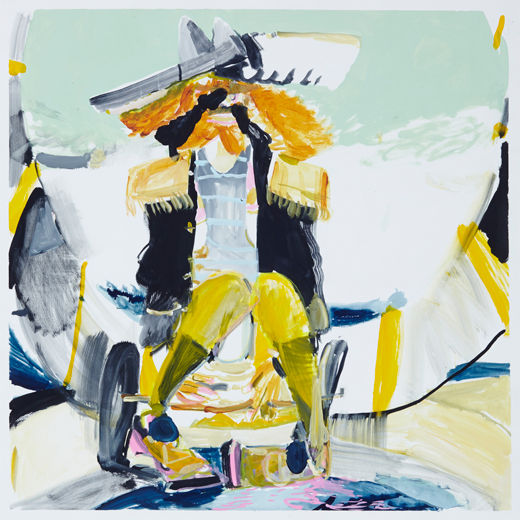 A rake's The legend, Michael Taylor 2014, Acrylic, gouache and pencil on paper, 75 x 75 cm The cowboy, Michael Taylor 2015, Acrylic, gouache and pencil on screen print, 70 x 50 cm