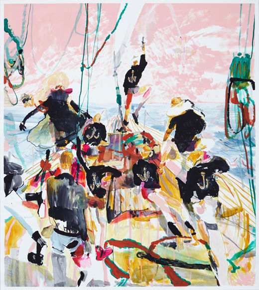Caution to the wind, Michael Taylor 2014, Acrylic, gouache and pencil on paper, 170 x 150 cm