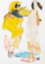 A rake's progress - New best friend, Michael Taylor 2015, Acrylic, gouache and pencil on screen print, 70 x 50 cm
