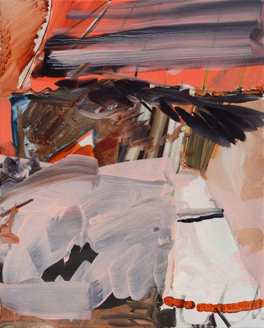 Shuttlecock Showdown, Michael Taylor 2017, Acrylic and flashe on canvas, 50 x 40 cm
