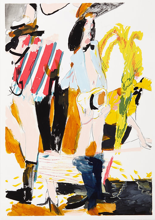 A rake's progress - Step aside boys, Michael Taylor 2015, Acrylic, gouache and pencil on screen print, 70 x 50 cm