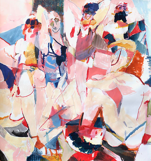 The young men of Avalon - Fruit bowl, Michael Taylor 2015, Acrylic, gouache and pencil on paper, 156,5 x 150 cm