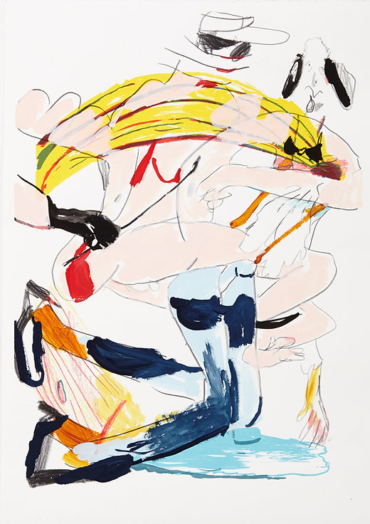 A rake's progress - The ride, Michael Taylor 2015, Acrylic, gouache and pencil on screen print, 70 x 50 cm