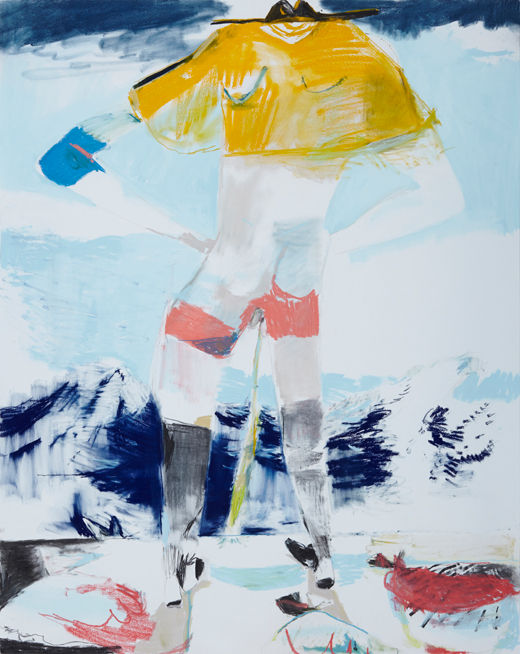 A rake'Boy meets world #3, Michael Taylor 2014, Charcoal and pastel on paper, 150 x 120 cm - New best friend, Michael Taylor 2015, Acrylic, gouache and pencil on screen print, 70 x 50 cm
