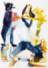 A rake's progress - All tied up, Michael Taylor 2015, Acrylic, gouache and pencil on screen print, 70 x 50 cm