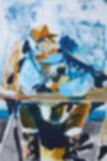 A rake's Mr. August (Matthew), Michael Taylor 2014, Acrylic and pencil on board, 60 x 40 cm - New best friend, Michael Taylor 2015, Acrylic, gouache and pencil on screen print, 70 x 50 cm