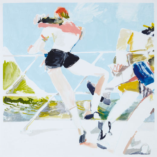 A rake's Goodbye ballet, Michael Taylor 2014, Acrylic, gouache and pencil on paper, 75 x 75 cm - Crushing, Michael Taylor 2015, Acrylic, gouache and pencil on screen print, 70 x 50 cm