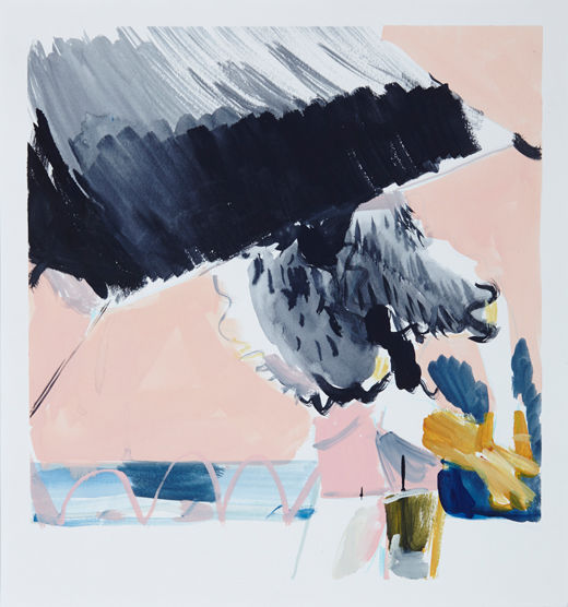 A rake'Beach bats #5, Michael Taylor 2014, Acrylic and pencil on paper, 40 x 37.5 cm progress - New best friend, Michael Taylor 2015, Acrylic, gouache and pencil on screen print, 70 x 50 cm