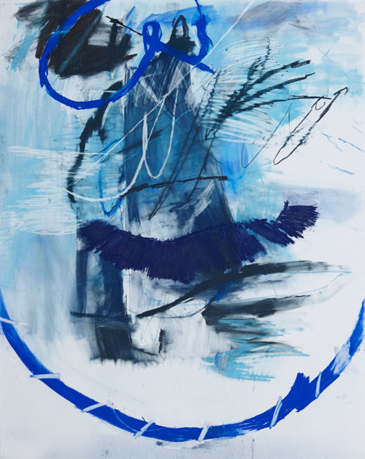 A rake'Good blues #1, Michael Taylor 2014, Charcoal and pastel on paper, 150 x 120 cm - New best friend, Michael Taylor 2015, Acrylic, gouache and pencil on screen print, 70 x 50 cm