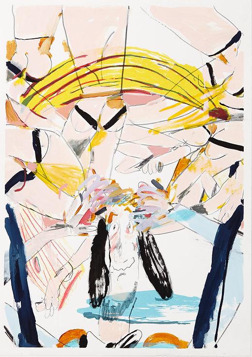 A rake's progress - Head spinning, Michael Taylor 2015, Acrylic, gouache and pencil on screen print, 70 x 50 cm