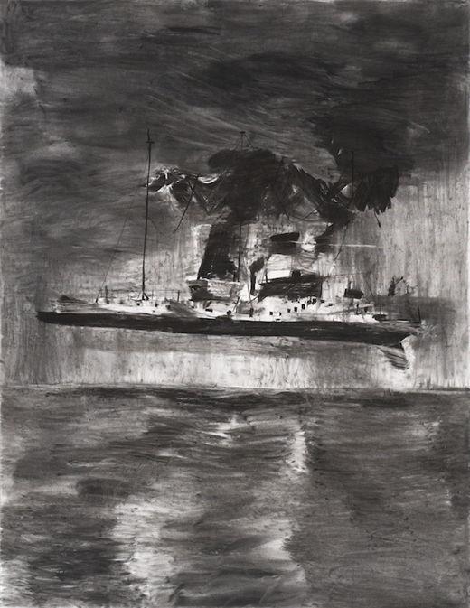 Ninja, Messiah complex, Michael Taylor 2014, Charcoal on paper, 150 x 120 cm Taylor 2016, Charcoal and flashe on paper, 100 x 70 cm