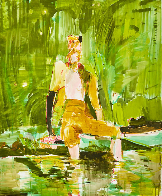 You never want to go in a jungle pool, Michael Taylor 2016, Gouache on paper, 150 x 125 cm