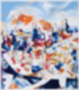 A rake'The temptation, Michael Taylor 2014, Acrylic, gouache and pencil on paper, 170 x 150 cm - Nightfall, Michael Taylor 2015, Acrylic, gouache and pencil on screen print, 70 x 50 cm