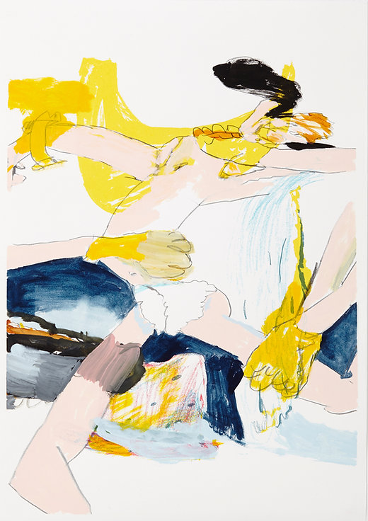 A rake's progress - Last dance, Michael Taylor 2015, Acrylic, gouache and pencil on screen print, 70 x 50 cm
