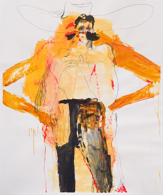 Rodeo Daddy, Michael Taylor, 2018, Mixed media on paper, 150 x 125 cm