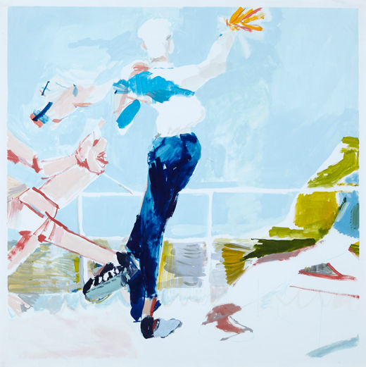 A rake's Goodbye boogie, Michael Taylor 2014, Acrylic, gouache and pencil on paper, 75 x 75 cm - Caught in the act, Michael Taylor 2015, Acrylic, gouache and pencil on screen print, 70 x 50 cm