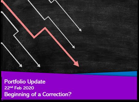 Portfolio Update – 22nd Feb 2020 Beginning of a Correction?