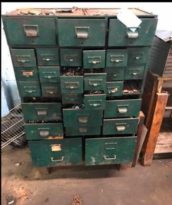 Vintage Metal parts cabinet w multiple doors