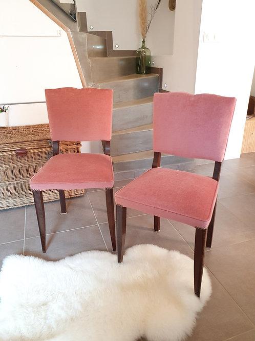 2 chaises anciennes en velour rose