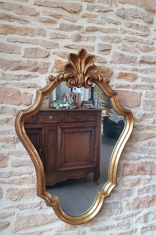 Miroir coquille doré